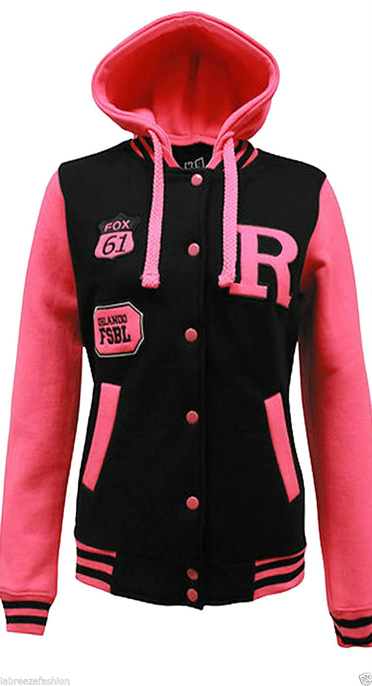 L85 NEW WOMENS FLEECE BASEBALL JACKET LADIES HOODED PLUS SIZE TOP ...