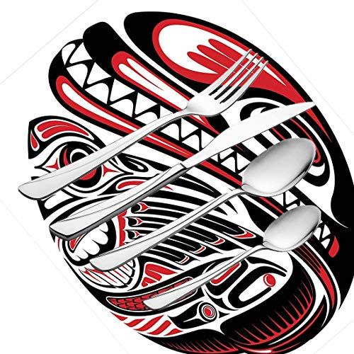 30-teiliges Besteckset, Tribal-Geschirr Besteckset aus rostfreiem Stahl für 6 Personen, einschließlich Messer, Gabeln, Löffel, Teelöffel und Tischset, Tierkunst im Haida-Stil Wild Ethnic Eagle und -