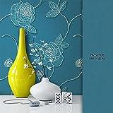 NEWROOM Blumentapete Tapete Blau Blumen Blätter Floral Vliestapete Vlies moderne Design Optik Tapete Modern inkl. Tapezier Ratgeber