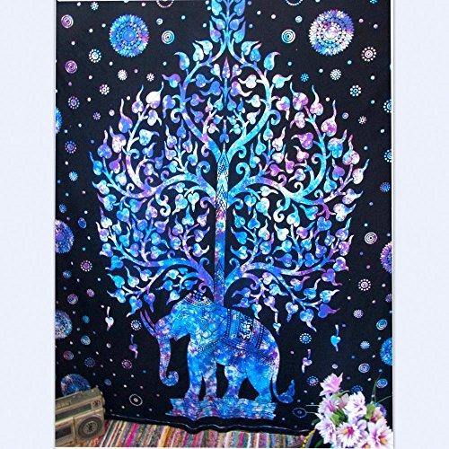 Slook Popolare Hippie Mandala Bohemian Psichedelico Intricato Disegno Floreale Indiano Copriletto Pensiero Magico Tapestry (L, elefante blu) - Libro Blu Tovagliolo