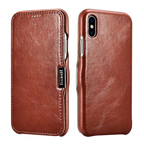 iPhone X Ledertasche Hülle, Icarer Echt Leder Vintage Tasche Slim und Lightweight Luxus Echtleder Backcover Handytasche Leder Hülle Case für iPhone X/iPhone 10 5,8 Zoll (Braun) (10 Leder)