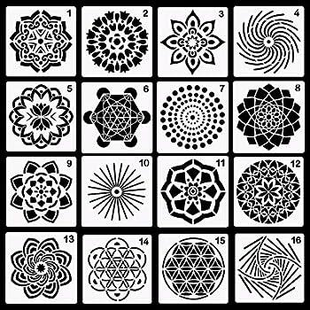 Yznlife 16 Pack Mandala Dotting Stencils Template 13 X 13