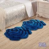 Lx.AZ.Kx Fußmatte Dreidimensionale Rosen Matten Hochzeit Teppich Schlafzimmer Bett in der Einhaltung der Decke Double-Take 90 cm * 160 cm, Blau