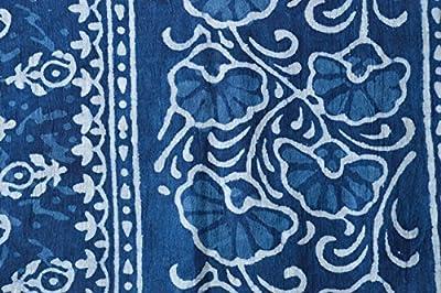 Guru Kripa Enterprises Women's Stole (Blue) SIZE(170CM X 55CM) HANDBLOCK PRINTED