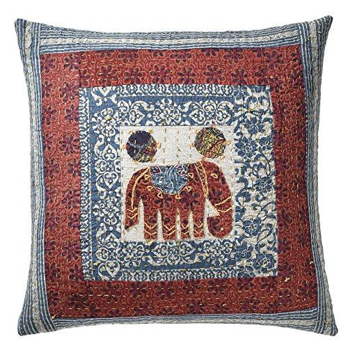 Hecho a mano indio de algodón cojín, Applique bordado diseño de elefantes...