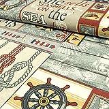Stoffe Werning Dekostoff maritim grau rot Leuchtturm Steuerrad - Preis Gilt für 0,5 Meter