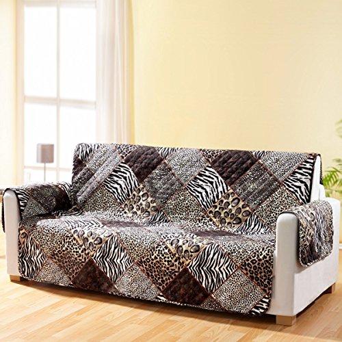 vivaDOMO® Wende-Sofaschoner Safari, Sofaschoner Couchschoner Sofaüberwurf Sofaüberzug Sofahusse Sofaschutz vor Schmutz & Abnutzung Polyester 279 x 190 cm