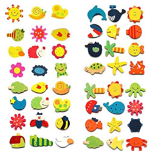 amesii 12PCS Cute Cartoon Muster Holz Kühlschrank Magnet Aufkleber Kids Educational Toy (Kid Spielzeug Kühlschrank)