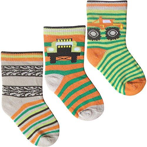 Baby Boys Super Soft Cotton Rich Trucks & Stripes Socks (3 Pair Multi Pack) (UK Infant 0-2.5 (EUR 15-18), Trucks & Trailers)