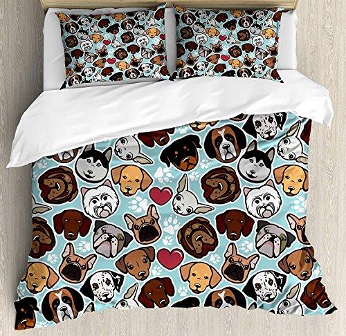 Soefipok Hundeliebhaber Bettbezug-Set Queen Size, Hunderassen Bulldogge Chihuahua -