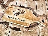 Game of Thrones Design 'Abendessen' Holz Paddle Schneidebrett/Cheesboard/Servierplatte mit rope| 30x 17cm |novelty Geschenk für Got Fans