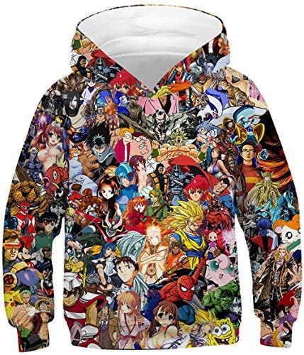 KamiraCoco Niños Sudaderas con Capucha de Los HD Colorido 3D Imprimieron el suéter para Niño Niñas Pullover Hoodie (M)