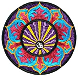 Aum Blumen Mandala Aufnäher Aufbügler Patch Lotus Buddha Yoga Esoterik Indien (Klein Lila)