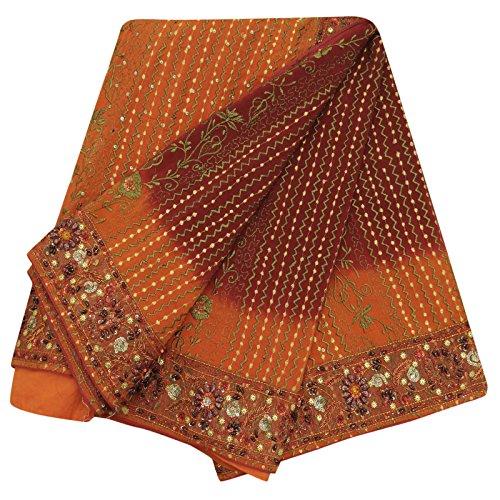 Vintage Indian Art Silk Saree gestickter Craft-Gewebe benutzt Ethnic Maroon Sari (Sari Maroon)