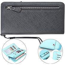"""Vandot Mujer Cartera de Embrague de PU Cuero Bolso Organizador Larga Billetera Cremallera Monedero de Monedas Carpeta Grande Capacidad Billetera Caso del Teléfono Móvil con Tarjetero y Correa de mano para Mobile Phone iPhone 8 / 8 Plus / 7 / 7 Plus / 6 / 6s / 6 Plus / 6S Plus / 5s SE 5, Samsung Galaxy S5 / S6/ S6 Edge / S7/ S7 Edge, Huawei P10 Plus/P8 Lite /P9 Lite 2017, Xiaomi mi6 / mi 5 5s, Redmi Note 4x / Note 4 y Otros Teléfonos 5.7"""" abajo, Black Negro"""
