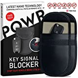 POWR RFID Signal Blocking Pouches (2 Pack) Anti-Theft Faraday Bag Protector for Keyless Car Key fobs | Blocks RFID/WiFi/GSM/LTE
