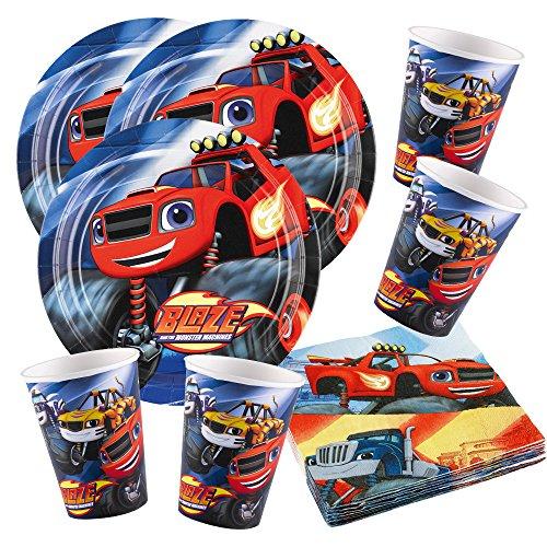 Preisvergleich Produktbild 52-teiliges Party-Set Blaze und die Monster-Maschinen - Teller Becher Servietten für 16 Kinder