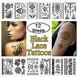 12 Blätter schwarzer Spitze Tätowierung wasserdicht temporäre Tattoo, sexy coole Mehndi Henna Aufkleber Körper gefälschte Schmuck Tattoos mit Spitze Mode-Design für Frauen Jugendliche Mädchen Body Art