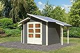 Unbekannt Karibu Gartenhaus Grönelo mit Schleppdach und Anbauschrank terragrau 28 mm