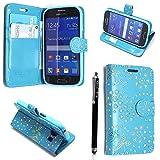 Kamal Star® Samsung Galaxy S3 i9300 / S3 Neo i9301 PU LEDER CASE COVER HÜLLE ETUI TASCHE SCHALE + STYLUS (Rose Sky Blue Diamond Book)