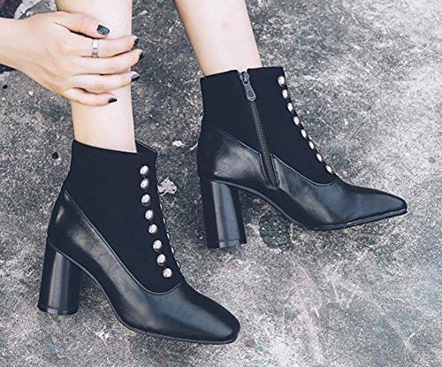 Elégant Bout Bottines Noir Carré Boots Femme Rivets Low Aisun HnwOEYH1q