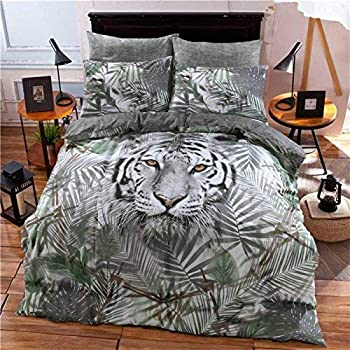 Bedding & Linens T&A Traders Polycotton 3D Animal Print Photographic Duvet Quilt Covers with Matching Pillow Cases Single Double King Double, Black Panther Bedding
