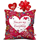 indibni You are My Everything Cushion Cover 12x12 with Filler - Pink Funky Designer Gift for Boyfriend Girlfriend Wife Him Her