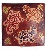 Peint à la main en cuir Porte-monnaie Tortues de mer Design différents couleurs marron