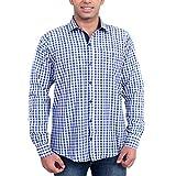 Solzo Slim Fit Blue Checks Cotton Shirt ...
