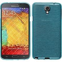 Funda de silicona para Samsung Galaxy Note 3 Neo - brushed azul - Cover PhoneNatic Cubierta + protector de pantalla