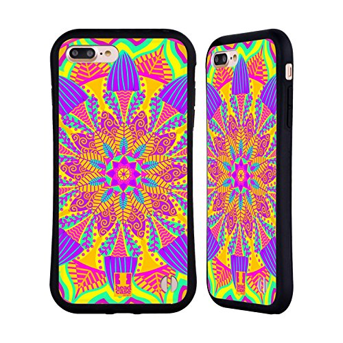 Head Case Designs Sonnenschein Gelb Mandala Blumen Hybrid Hülle für Apple iPhone 7 Plus / 8 Plus (Blume Backplate)