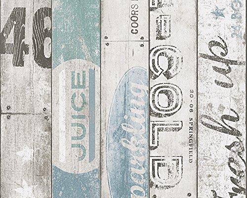 Carta da parati legno finte doghe in legno verosimili con scritte dal design moderno contemporaneo shabby chic country rustico ideali per tutti gli ambinti in particolare camerette e commerce boys e girls 95950-3.