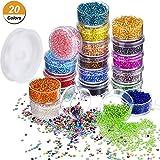 Quantité et couleurs:  20 boîtes de petites perles de poney dans 20 couleurs différentes, chaque couleur 1 boîte, chaque boîte contient environ 800 perles de pièces, total 16000 pièces; Une grande quantité et des couleurs riches sont bonnes pour la ...
