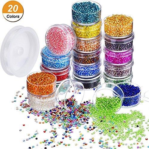 16000 Piezas de Abalorio de Semilla de Cristal 20 Colores 2 mm...