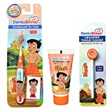 Dentoshine Oral Care Combo (Chhota Bheem Toothbrush + Lollipop Tongue Cleaner + Flavored Toothpaste 80 G) - Orange