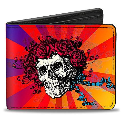 Buckle Down Herren Skull & Roses/Rays Ombre Orange/Reds/Blues Zweifalten-Geldbörse, Mehrfarbig, Standardgröße
