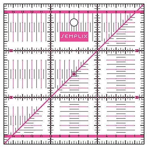 SEMPLIX Patchwork-Lineal Quilt-Lineal, transparent, mit cm Skala und Winkelfunktionen, ideal für Patchwork und zum Basteln, 15 x 15 cm (pink)