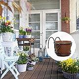 cuckoo-X Blumen-Rack Kreativ Balkonzaun Blumentopf Outdoor Pflanzen-Hängeregal Haken Blumenständer Eisen Balkongeländer Hängen Blumenregal Brown/L