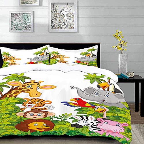 Yaoni Bettwäsche-Set, Mikrofaser,Kindergarten, Cartoon-Stil Zootiere Safari Dschungel Maskottchen Tropenwald Wildlife Pattern, Multicolor, 1 Bettbezug 200 x 200cm + 2 Kopfkissenbezug 80x80cm