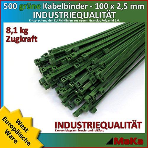 Grüne Kabelbinder (500 Stk Kabelbinder grün 100 x 2,5 mm EUROPÄISCHE-WARE/ INDUSTRIEQUALITÄT)