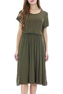 Love2Mi Umstandskleid Stillkleid Damen Streifen /Ärmellos Schwangere Kleider