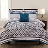 Pacific Coast Textiles 8 Piece Printed Reversible Complete Bed Set, Polyester, Kiev Stripe, Queen