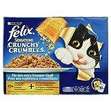 Felix Sensations Crunchy Crumbles Katzenfutter Fisch Mix, 10er Pack (10 x 100 g + 40 g)