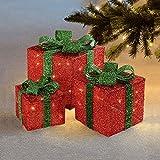 Sentik Set von 3LED-Leuchten in Weihnachtsgeschenkform, farbig, mit Schleifen, für Innen- und Außenbereiche geeignet rot / grün