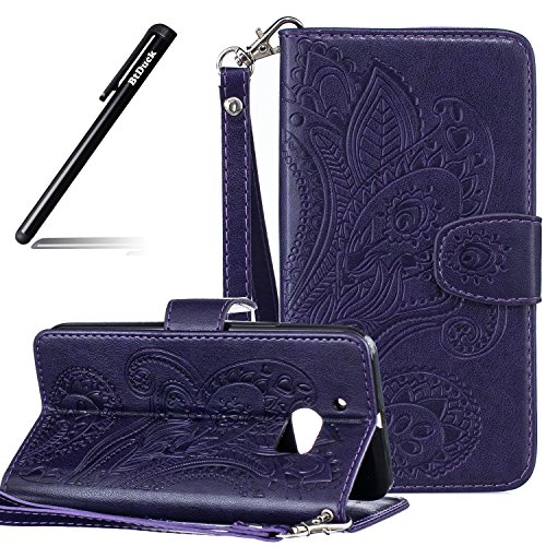 BtDuck HTC 10 Hülle Leder, Brieftasche Flip Cover Portable Carrying Strap Embed Patterned Handytasche PU Leder Schutzhülle für HTC One M10 Tasche Handyhülle (Violett)
