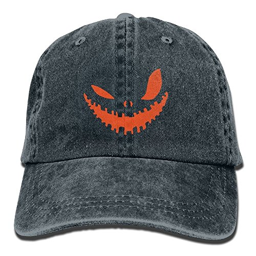 Preisvergleich Produktbild Pumpkin Face Halloween Vintage Washed Dyed Adjustable Baseball Cowboy Cap