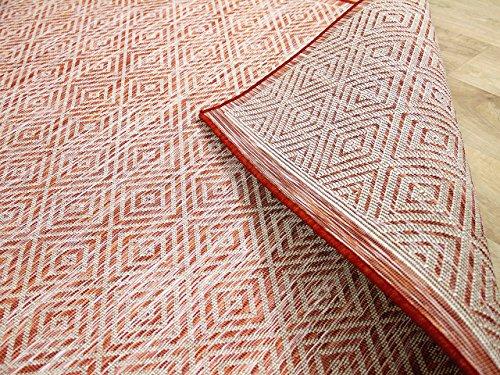 CAMPUS In & Outdoor Teppich Beidseitig Flachgewebe Hampton Terrakotta Orange Meliert