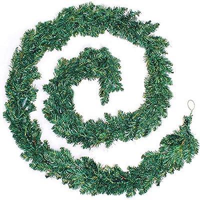 2 Pieces - 9FT/2.7M Christmas Garland Decoration Plain Green Undecorated Wreath Garland Xmas Green Pine Garland