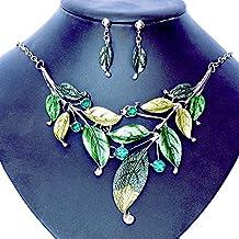 S&E Collar Cadena para Mujeres Estilo Bohemio Collar para Fiesta Disenño de Hojas
