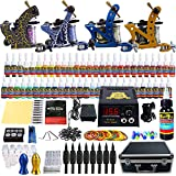 Solong Tattoo® Profi Komplett Tattoomaschine Set 4 Tattoo Maschine Guns 54 Farben/Inks Tinte Nadel Tattoo maschine Set Kit TK453